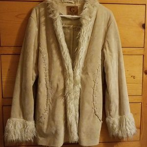 Jackets & Blazers - Faux Fur Coat, Light Cream, Size L
